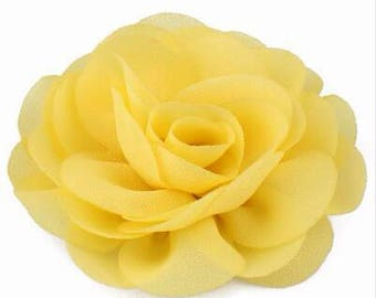 2 Yellow Rose Flower Baby Girl Hair Clips 1 Pair