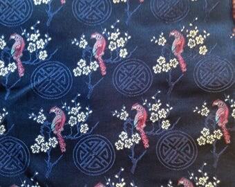 Woven navy silk fabric