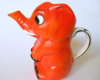 Orange Elephant Cream Pitcher - Vintage Goebel