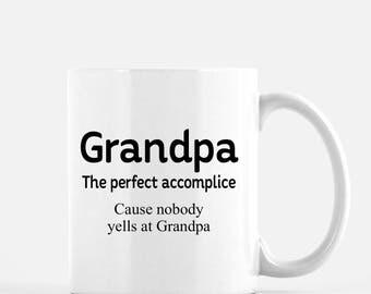 Grandpa gift, funny grandpa gift, Father's Day gift for grandpa, nobody yells at grandpa, coffee mug, grandpa gift from kids
