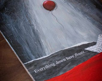 """Artistic paint on wood mix technics about """"IT"""" by Stephen King"""