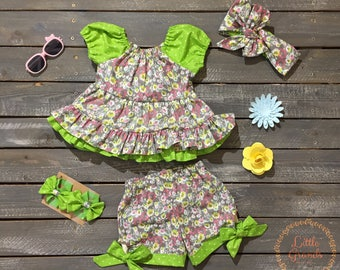 Lime Green Floral Tunic Shirt and Shorts Set 9-12 Months