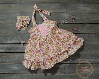 Pink Floral Halter Top Sundress Set 18-24 Months