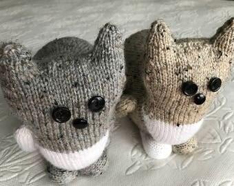 Hand knit stuffed cat