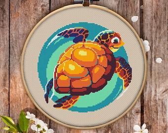 Turtle Cross Stitch Pattern for Instant Download - 067| Needlecraft Pattern| Cute Cross Stitch| Embroidery File| Baby Cross Stitch| Hoop Art