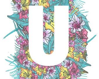 Personalised Letter Print Tropical- U-W- Downloadable, Printable Art