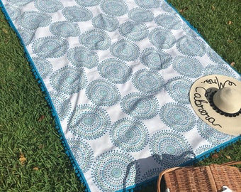 Boho style picnic / beach blanket with teal trim
