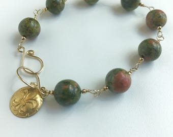 Unakite and 14 KT Gold-Filled Wire Bracelet