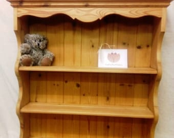 Solid Pine 3 Shelf Plate Rack / Mini Dresser Kitchen Shelves
