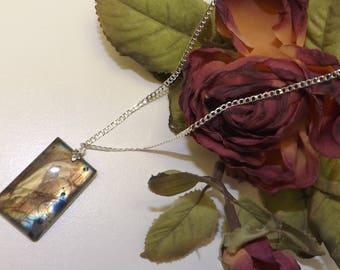 Labradorite Leaf Bail Pendant Necklace  #182020