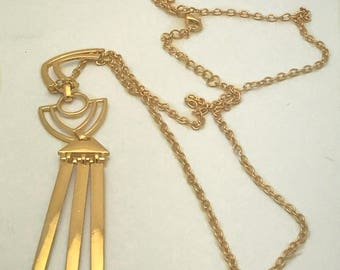 Necklace/Long Necklace/Aztec Inspired Necklace/Gold Plated Necklace