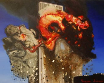 Artwork twin towers on canvas oil