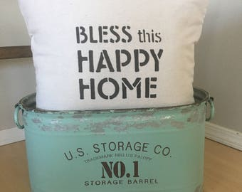 """Bless This Happy Home,  18""""x18"""",  PILLOW COVER, Fixer Upper Style, Modern Farmhouse, Throw Pillow, Cushion Cover"""