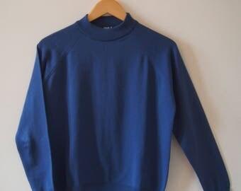 Vintage Turtle Neck Jumper, Bright Cobalt Blue, Size S