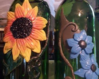 Tiki Torch Wine Bottle, Polymer Clay Tiki Torch, Wine Bottle Tiki Torches, Cute Handmade Tiki Torches, Tikitorch