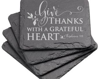Give Thanks Laser Etched Slate Coaster; Scripture