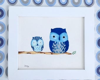 Watercolor pair of owls