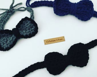 Baby Boy Bow Tie, Baby Bow tie, Newborn Bow Tie, Bow Toe Photo Prop, Photography Prop, Black Bow Tie, Crochet Bow Tie