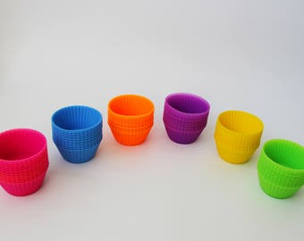 Single Color 12pcs set of Reusable Baking Cups, Silicone Bakeware Cupcake Liners, Silicone molds, Soap molds