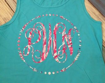 Comfort Color tanks with full chest monogram.