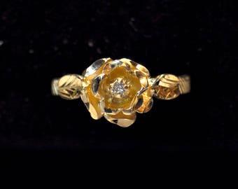 Solid Gold Vintage Rose Eternity Ring