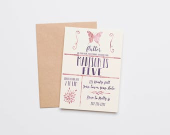 "Butterfly Birthday Invitation - ""Flutter on over"""