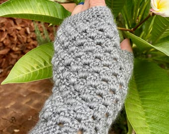 Fingerless gloves. Hand crocheted. Soft, very comfortable and wearable.