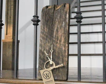 Rustic reclaimed wood clock - locally sourced barnwood clock - fathers day gift - repurposed barn wood clock