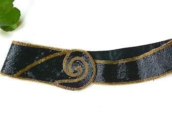 Vintage Beaded Belt - 1980 Belt - larp - tuxedo belt - vintage beaded belt - velcro belt - dressy belt - black beaded belt - small belt