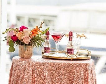 Rose Gold Sequin Tablecloth |  Rose  Gold Table Linen | Gold Sequin Tablecloth | Rose Gold Wedding Decor | Rose gold table runner | wedding