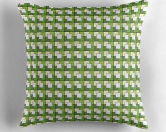Green Cushion, Geometric cushion, Green squares, throw pillow, green geometric, geometric home decor, green home decor, squares, green decor