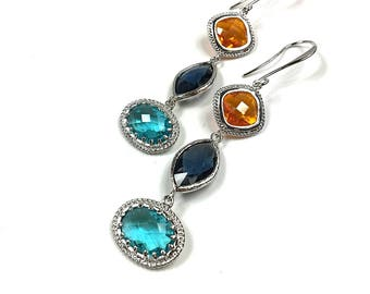 EARRINGS  with MULTICOLOR CRYSTALS