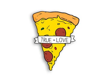 True Love Pizza Magnet - Pepperoni Pizza Cheese Pizza Fridge Magnet