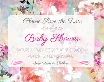Vintage Baby Shower Save the Date