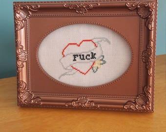 F*ck heart cross stitch