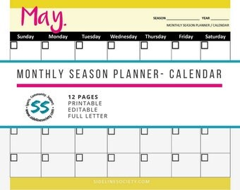 Monthly Season Planner - Calendar