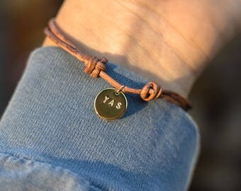 Hand Stamped Leather Bracelet - YAS - Adjustable
