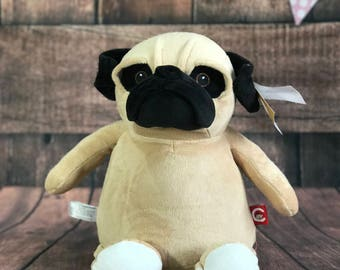 Pug Dog Cubby with Personalisation | Personalised Teddy | New Baby Gift | Christening Present | Baby Shower | Communion Gift | Birthday
