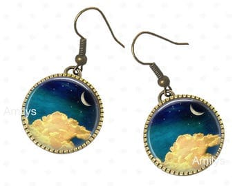 Earrings in the clouds on cabochons, moon, clouds, universe, Moon jewelry full moon, planet, planet jewelry.