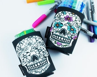 Adult Coloring - Coloring Party Favors - Coloring pages for adults - Coloring Gifts - Sugar Skull - Color Me Cuddler® by CanCuddler®-DAISEY