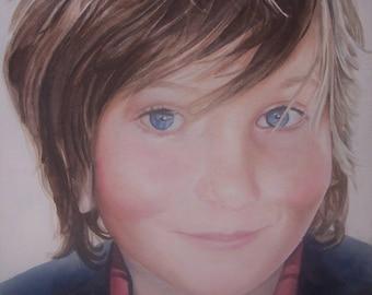 Child portrait, custom portrait, acrylic painting, boy,