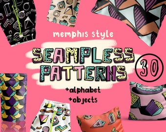 30 Seamless patterns memphis style.