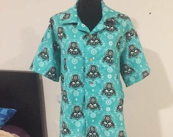"""Hand-made Darth Vader """"Dia de los Muertos"""" inspired Hawaiian Shirt - MEN'S M/L"""