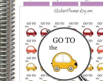 Go To The Car Stickers Planner Stickers Car Planner Erin Condren Planner Happy Planner Rainbow Stickers Road Trip Stickers (i41B)