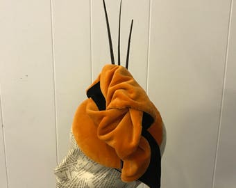 Burnt Orange & Black button fascinator Tempest