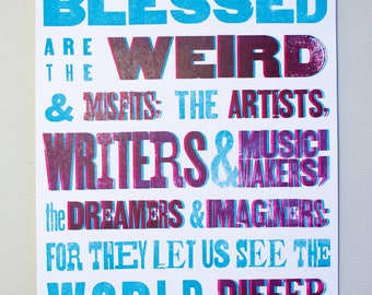 Blue and Magenta Parallax Letterpress Poster