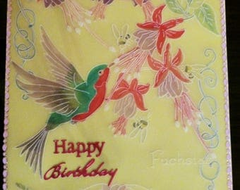Happy Birthday with humming bird -Parchment craft