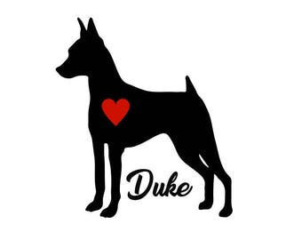 Mini Pinscher Decal, Personalize With Your Dog's Name, Mini Pinscher Sticker, Miniature Pinscher, Pinscher Decal, Doberman Dinscher Decal