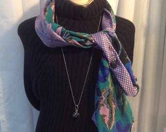 Unique scarf made of neckties recycle silk in mauve, purple and green hues