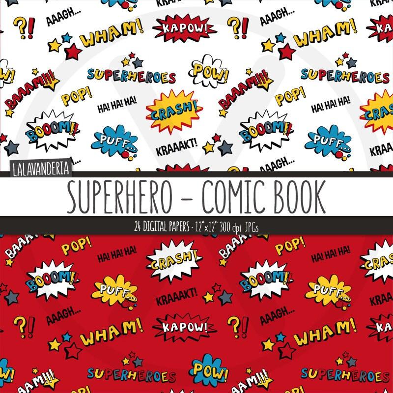Papel digital superh roes kit de papeles imprimibles con - Papel pared comic ...